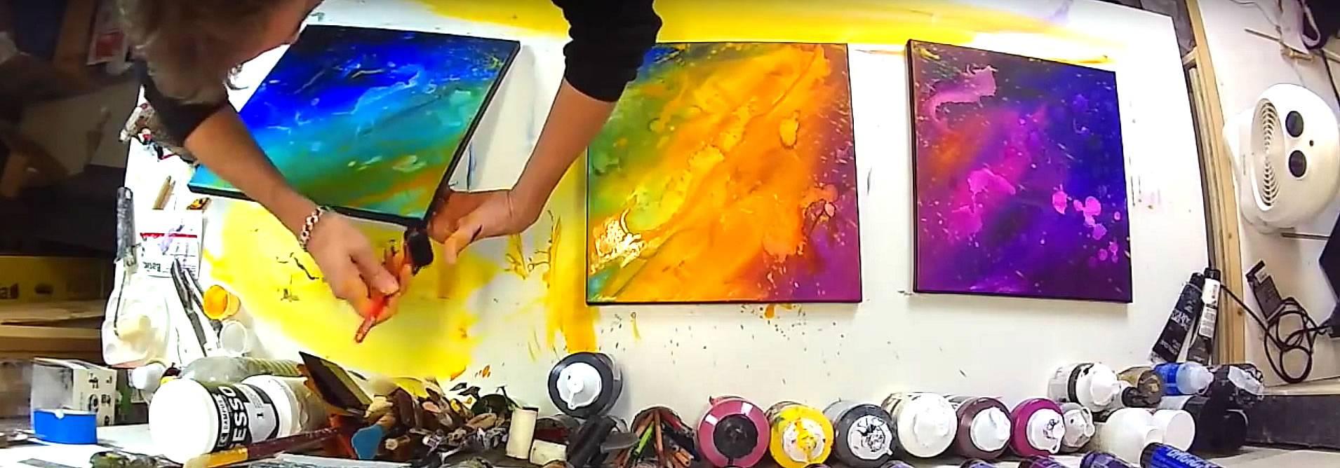 video comment faire un tableau abstrait flashy