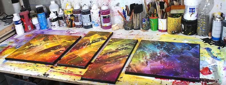 video comment faire une peinture abstraite colore