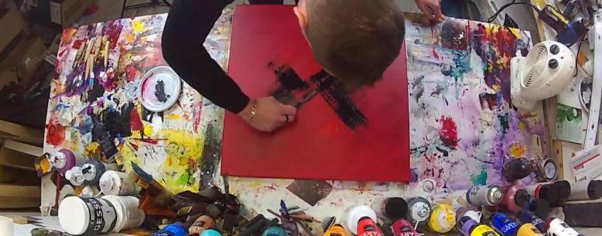 Comment peindre un tableau au couteau - 2eme couche de peinture sans trace ...