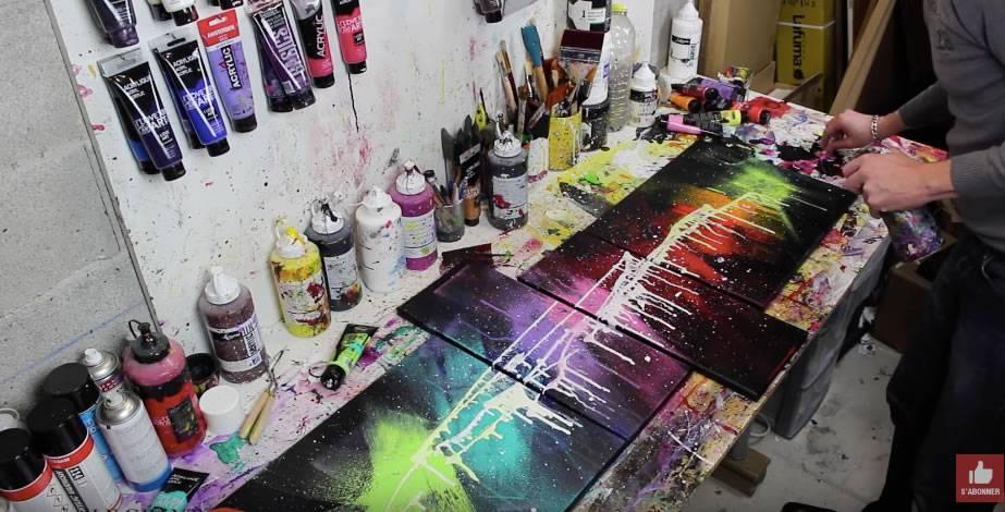 peindre un tableau abstrait avec le mat riel i love art. Black Bedroom Furniture Sets. Home Design Ideas