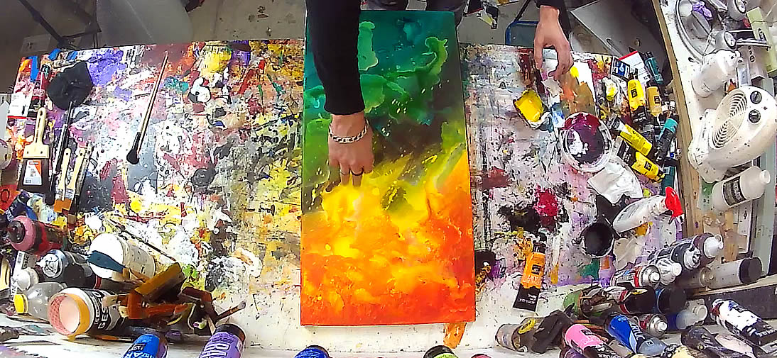 Comment peindre un tableau contemporain coloré : Vidéo démo